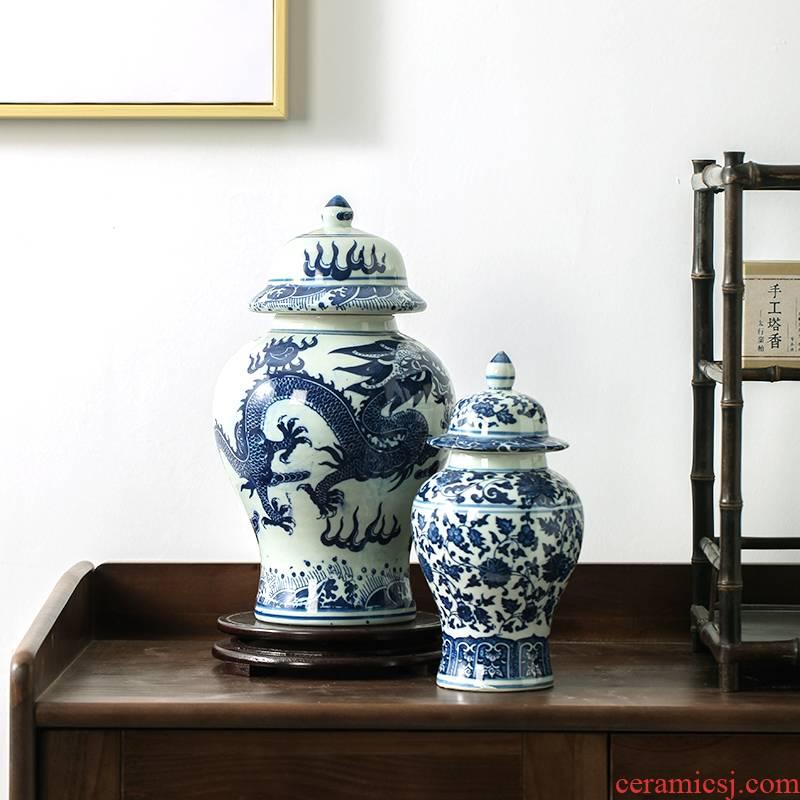 Jingdezhen porcelain ceramic general tank general rich ancient frame decorative ceramic furnishing articles furnishing articles ceramic pot home as cans