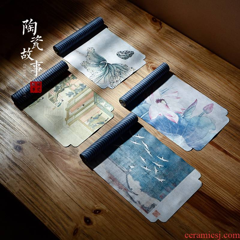 Story of pottery and porcelain tea table linen zen tea cloth art waterproof hand - made tea towel high - end Chinese wind of the type of bunting