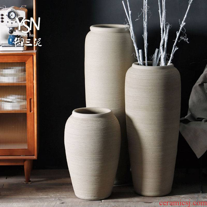 Royal three contracted creative ceramic garden flower bed mud dry flower modern earthenware coarse pottery flowerpot Nordic ground vase