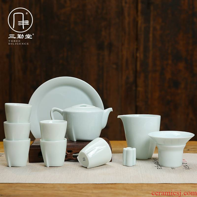 Three frequently hall of a complete set of kung fu tea set jingdezhen ceramic cups tureen ST1021 masters cup 12 head group