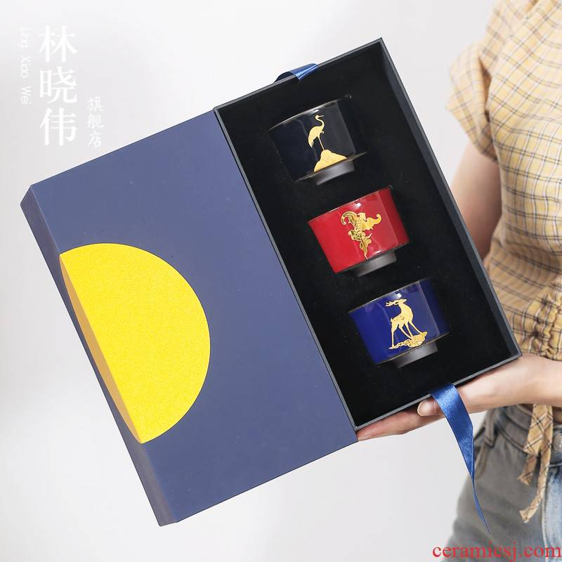 Pure gold master cup blessing birthday present box top ceramic checking fine gold kung fu sample tea cup single cup gift