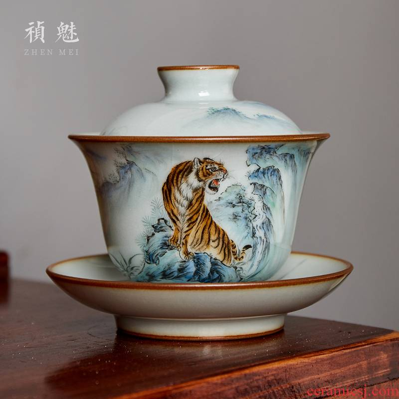 Shot incarnate your up hand - made the tiger only three tureen jingdezhen ceramic kung fu tea tea bowl cover open tablets