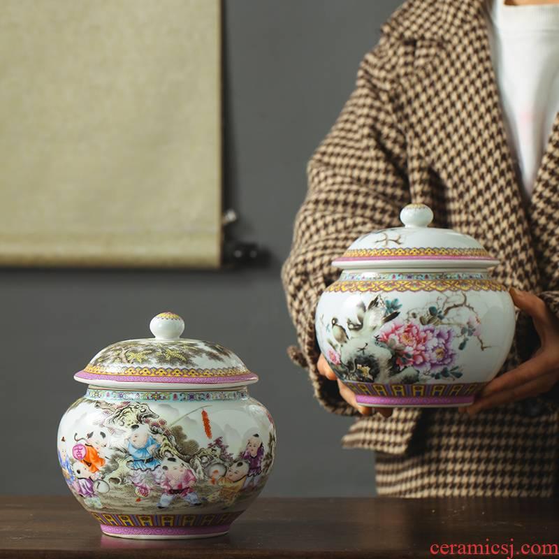 Jingdezhen porcelain famille rose tea pot seal moisture puer tea storage jar small snack jars with cover