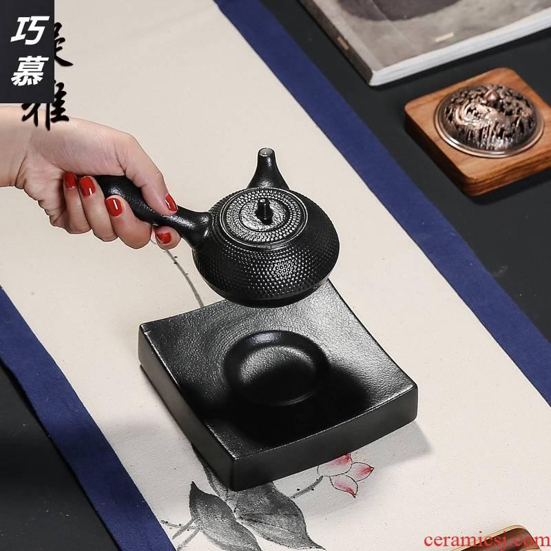Qiao mu retro black pottery sifang oval pot bearing coarse ceramic pot pad creative dry blister tray of the teapot tea accessories