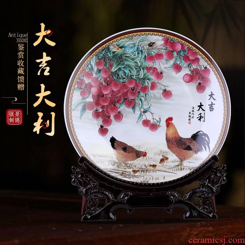 Chinese jingdezhen prosperous ceramic plate hanging dish sitting room ark adornment sat dish home furnishing articles