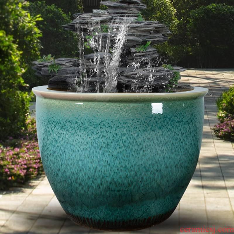 Goldfish bowl lotus brocade carp sitting room place yard to heavy cylinder cylinder jingdezhen ceramic turtle cylinder large - sized tank