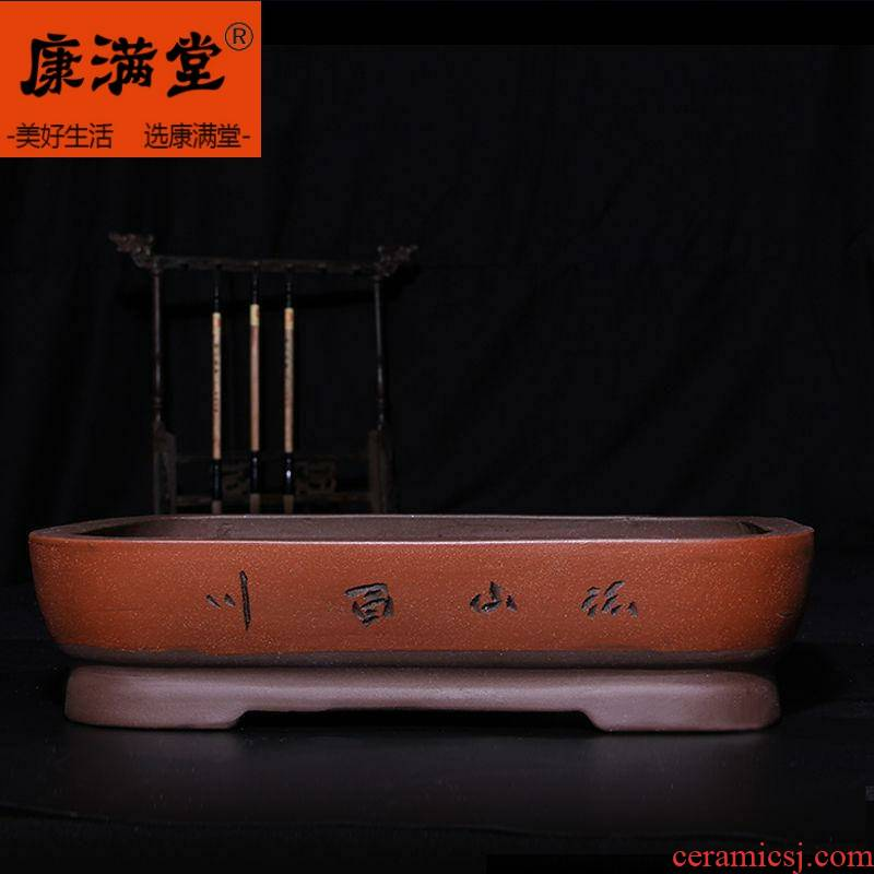 The New water stone tray was violet arenaceous basin bottom artificial rockwork bonsai POTS rectangle ceramic water stone
