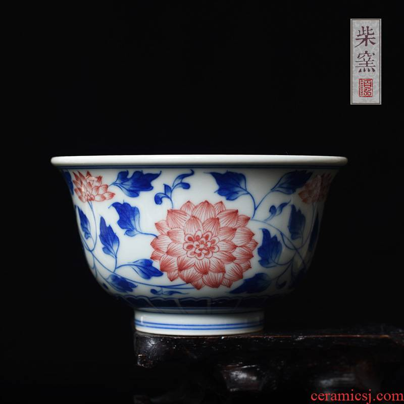 Yihong maintain the jingdezhen blue and red see colour pressure hand a cup of tea firewood branch master sample tea cup cup single CPU