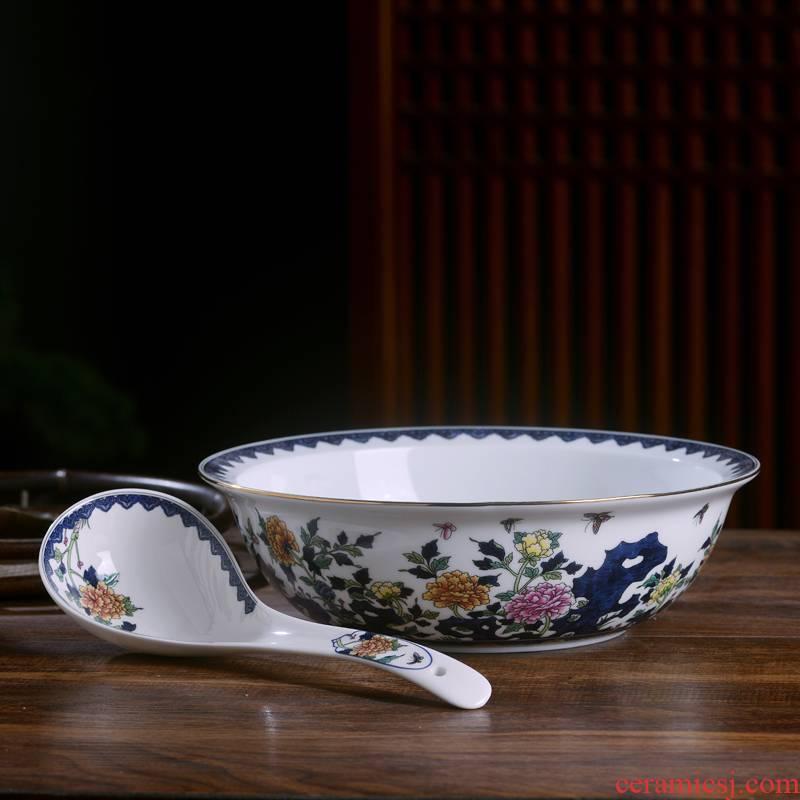 Jingdezhen ceramics increasing large soup bowl basin of Chinese style household large soup bowl pickled fish dish bowl rice basin basin