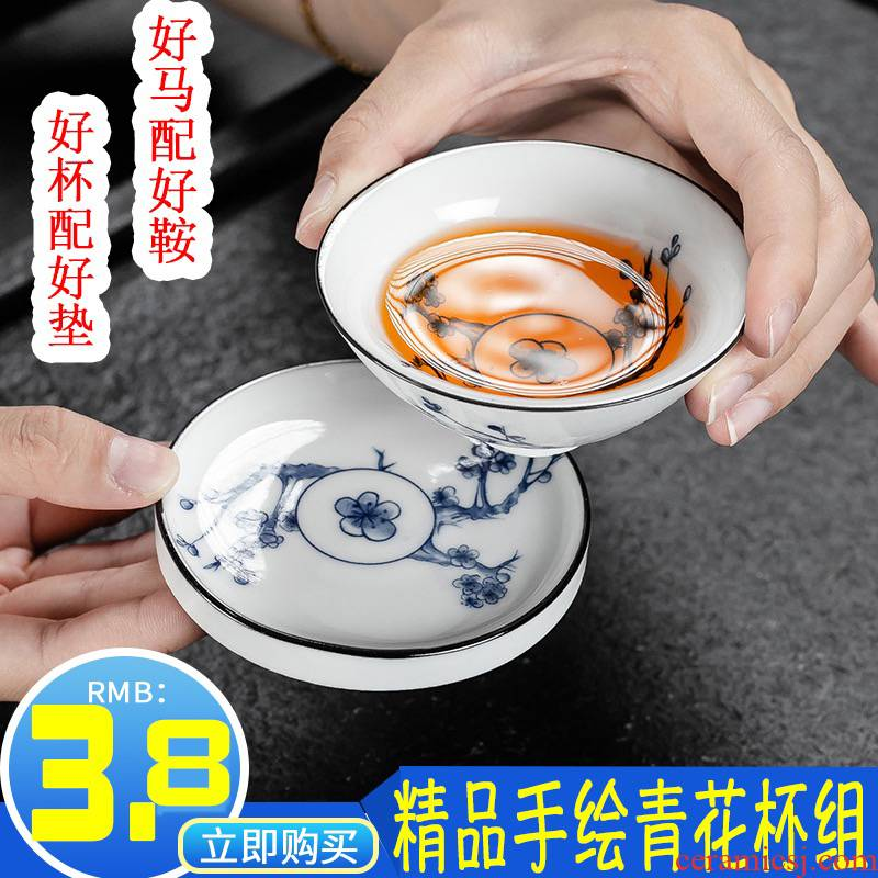Hui shi blue and white porcelain cups kung fu small single CPU master cup tea sets tea tea cups at upstream BeiBei