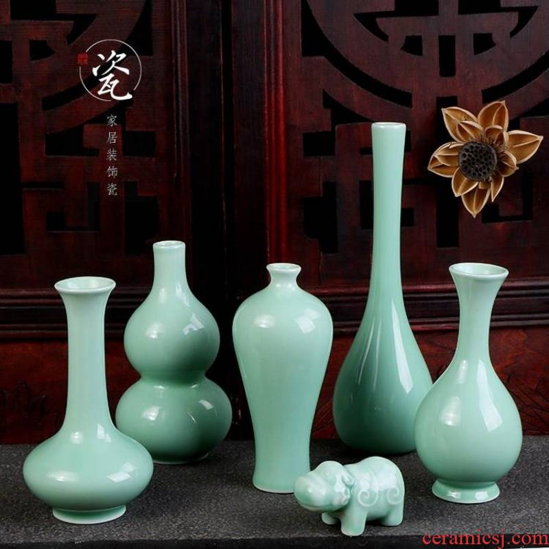 Ceramic floret bottle of flower celadon net bottle name plum inside bottle classical contracted Chinese wind desktop porch home furnishing articles