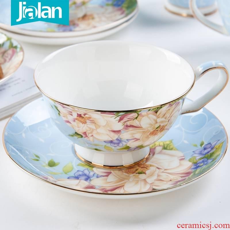 Qiao mu European - style coffee cup suit household take teaspoons of afternoon tea tea set ceramic English home 3 cups set