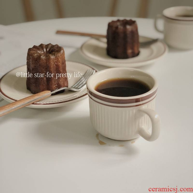 Chesapeake retro red line ceramic coffee cup Japanese web celebrity gift item cafe places cup 100 ml