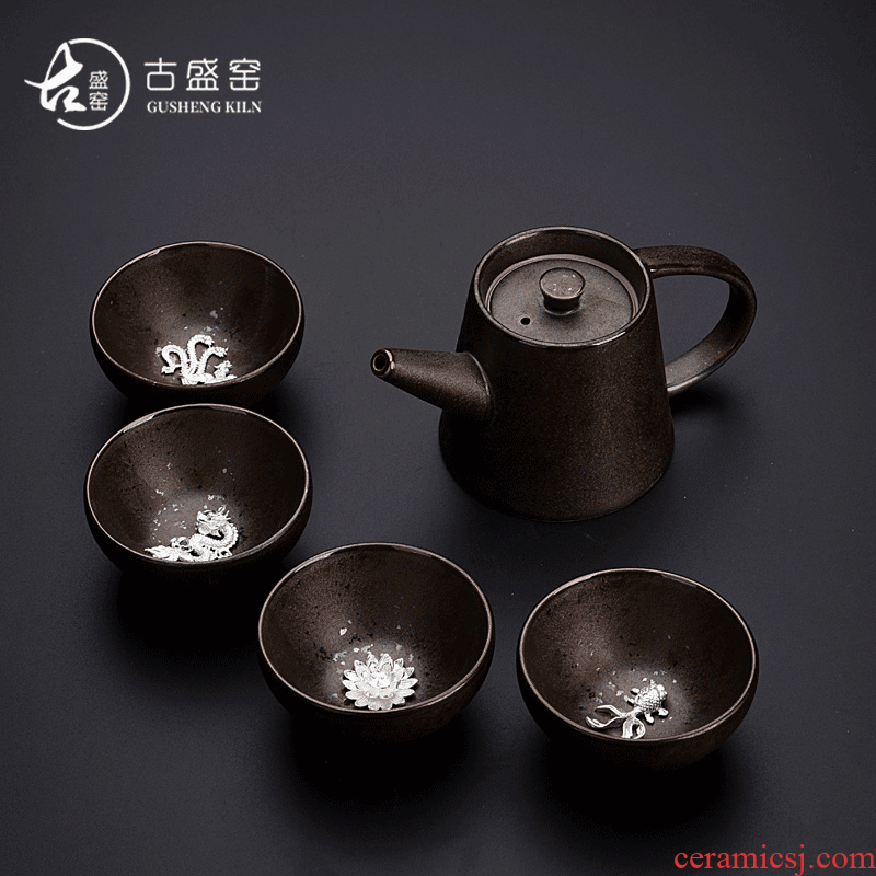 A pot of ancient sheng up new squama temmoku ceramics four cups of inlay silver variable work travel tea set