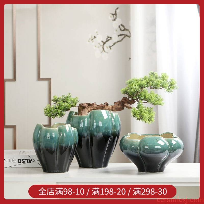 Creative glaze ceramic cup combination potted petals desktop small fleshy restoring ancient ways all over the sky star flower implement furnishing articles