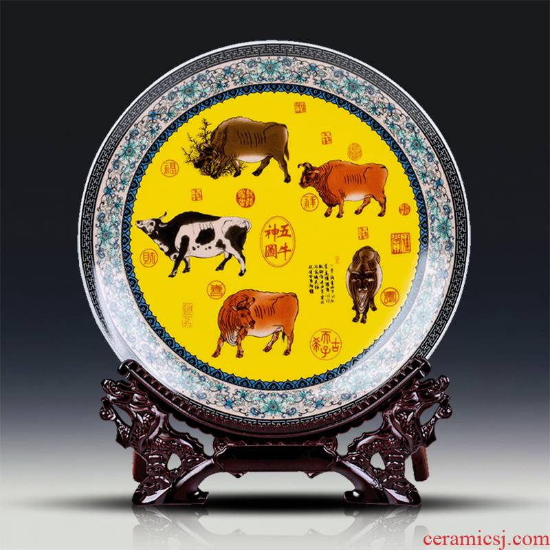 Jingdezhen ceramics five NiuTu sitting room of the new Chinese style household decorative plate hang dish rich ancient frame furnishing articles of handicraft