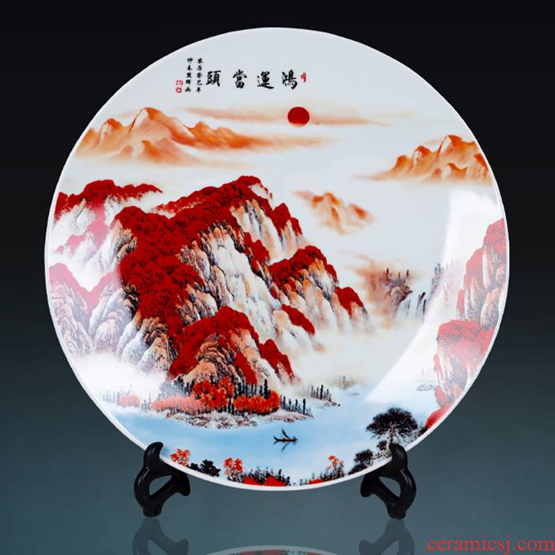 Much luck, jingdezhen ceramics decoration plate plate rich ancient frame sitting room adornment of Chinese style household furnishing articles