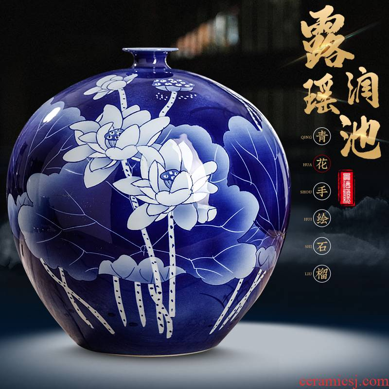 Jingdezhen ceramics hand - made lotus blue and white porcelain vase furnishing articles of new Chinese style living room TV ark adornment arranging flowers