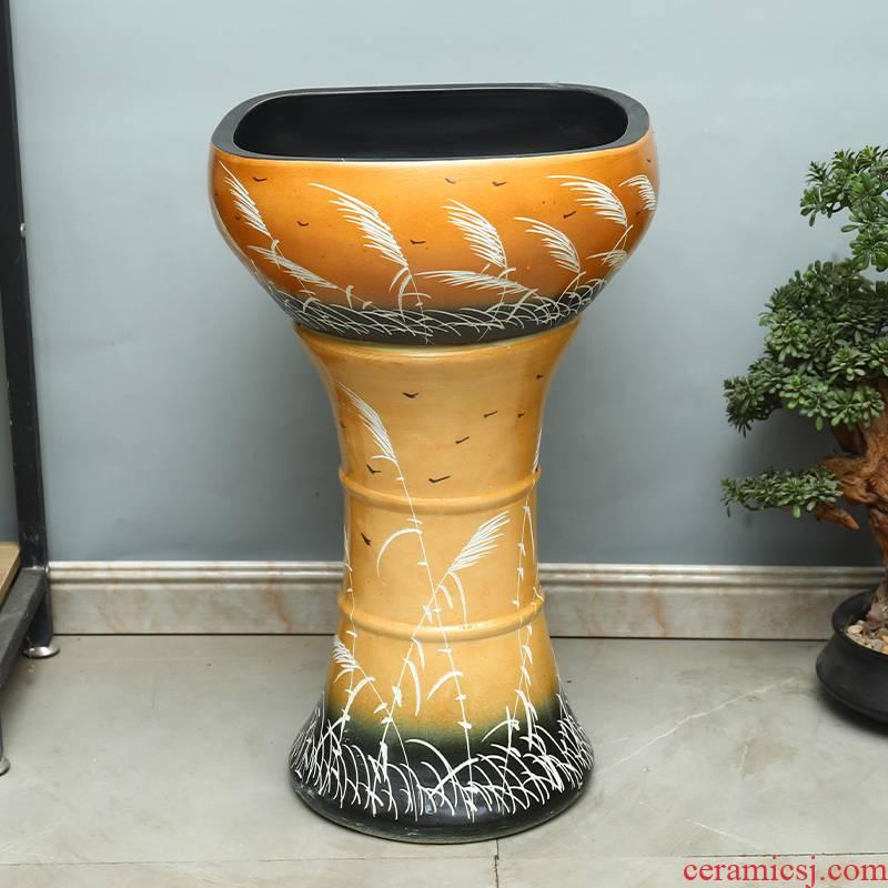 Jingdezhen ceramic aquariums pillar landing LianHe flowerpot brocade carp is suing large goldfish bowl water lily bowl