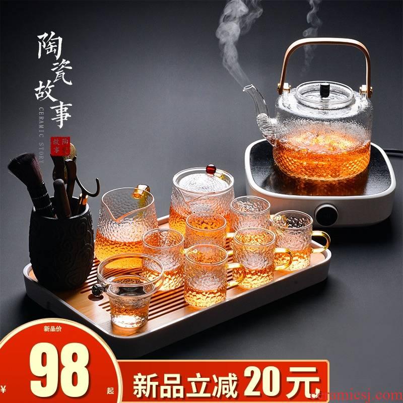 Ceramic story a complete set of tea sets suit home sitting room tea tea tray glass teapot teacup kung fu tea set