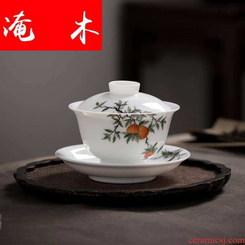 Submerged wood jingdezhen jade mud hand - made pastel blue and white porcelain three tureen high temperature ceramic kung fu tea tea