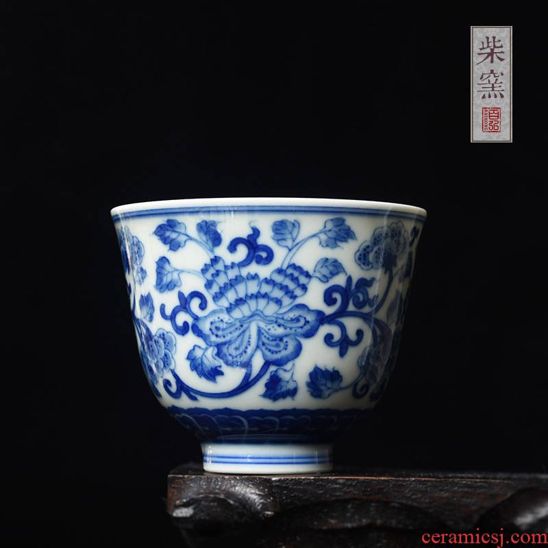Jingdezhen blue and white peony around hundred hong maintain branch fragrance - smelling cup sample tea cup teacups hand - made firewood master cup single CPU