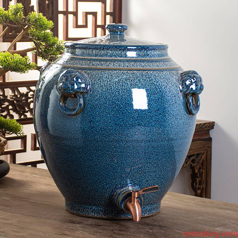 Archaize of jingdezhen ceramic mercifully wine jars home 30 jins of 50 kg 100 put SanJiu lion it with cover seal