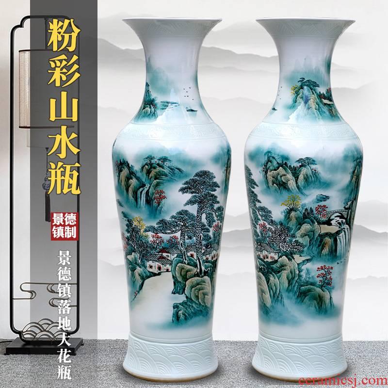 Jingdezhen ceramics hand - made splendid sunvo landing place to live in the living room TV cabinet landscape painting large vase