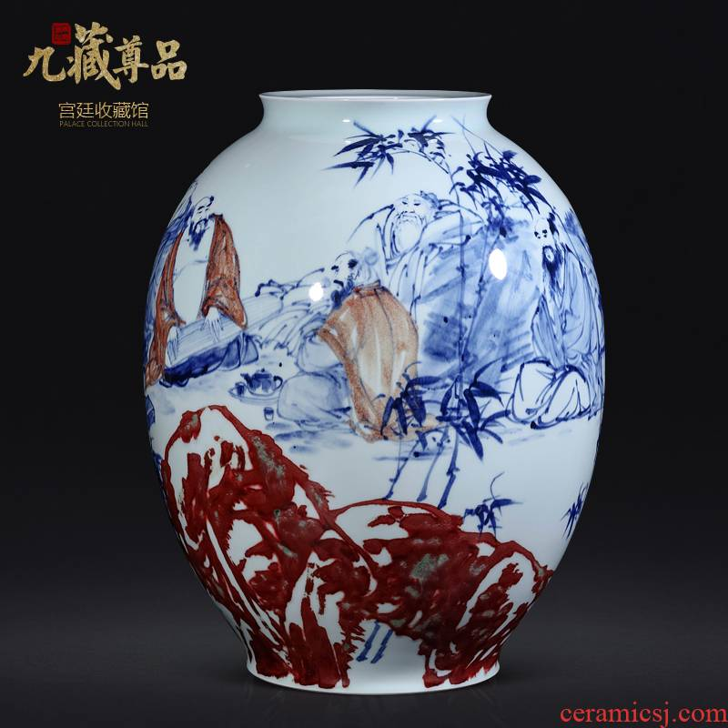 Jingdezhen ceramics dong - Ming li hand - made youligong vase Chinese style living room TV cabinet porch is decorated furnishing articles