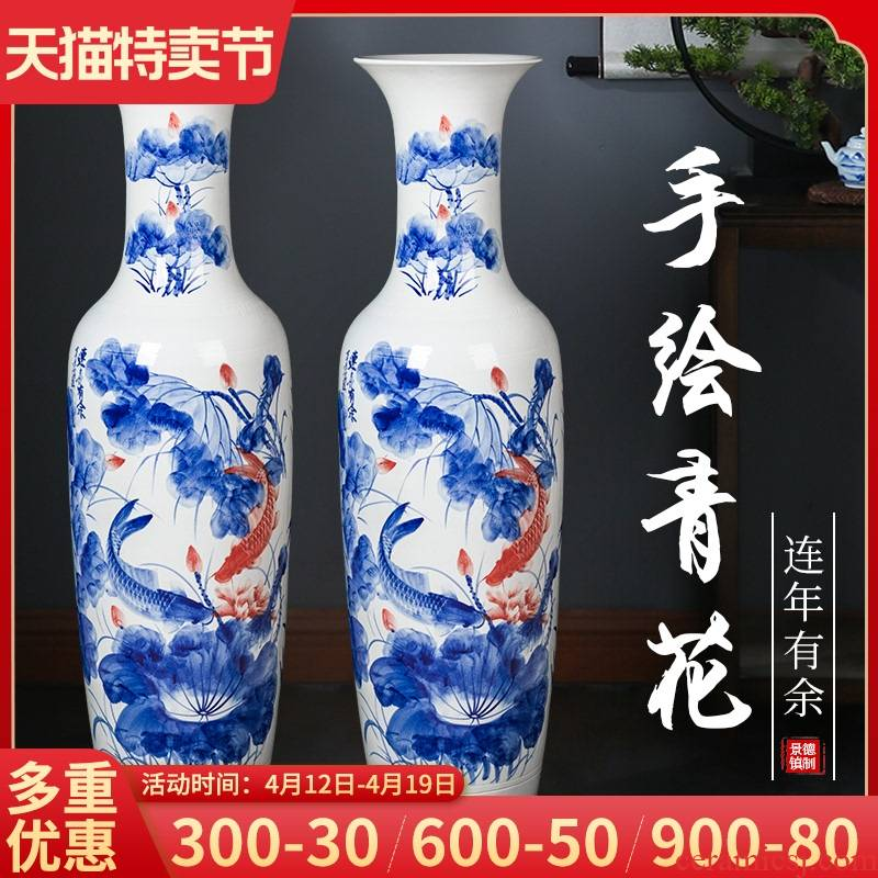 The Large vase hand - made porcelain of jingdezhen ceramics for years more than sitting room the opened new Chinese style household hotels