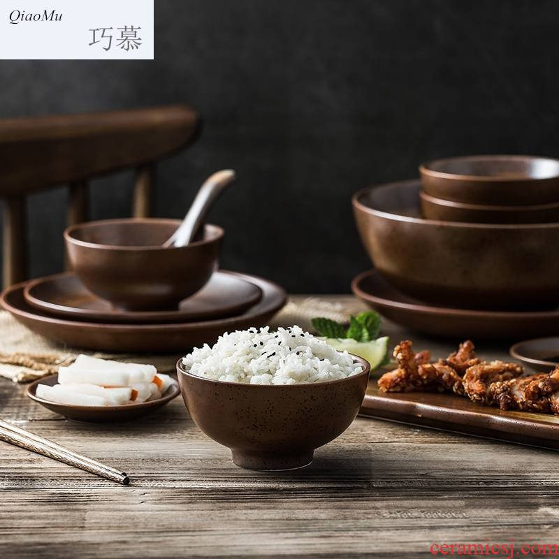 Qiam qiao mu Japanese home dishes and cutlery set box Chinese creative ceramic bowl dish soup bowl to eat