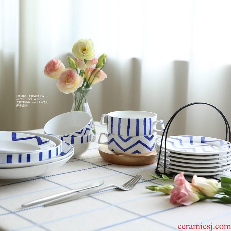 Qiao mu CDW Japanese blues line ceramic flat dish dish steak pan pan rice bowls porringer Japanese meal