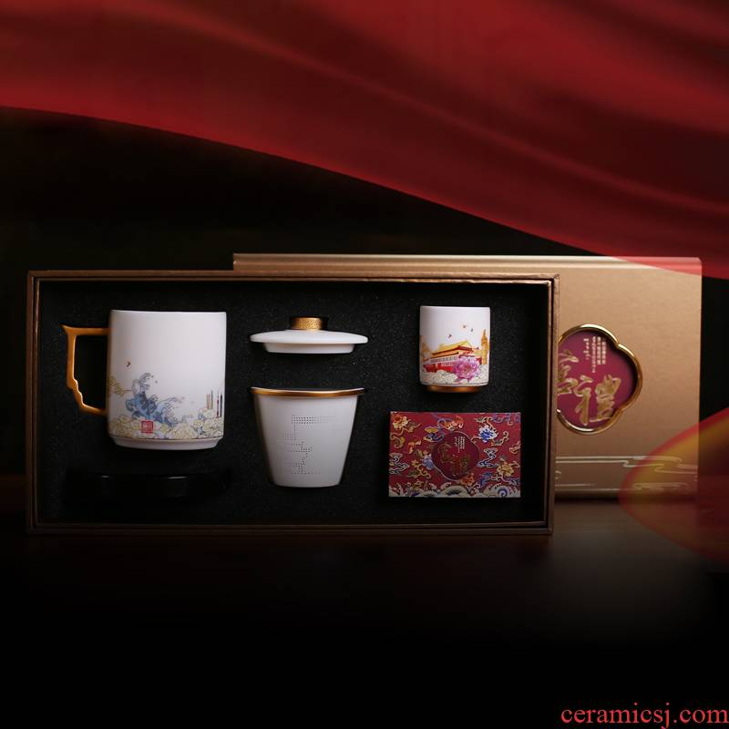 Jingdezhen large capacity filter tea cups separate individual special glass ceramic office cup single tea cup