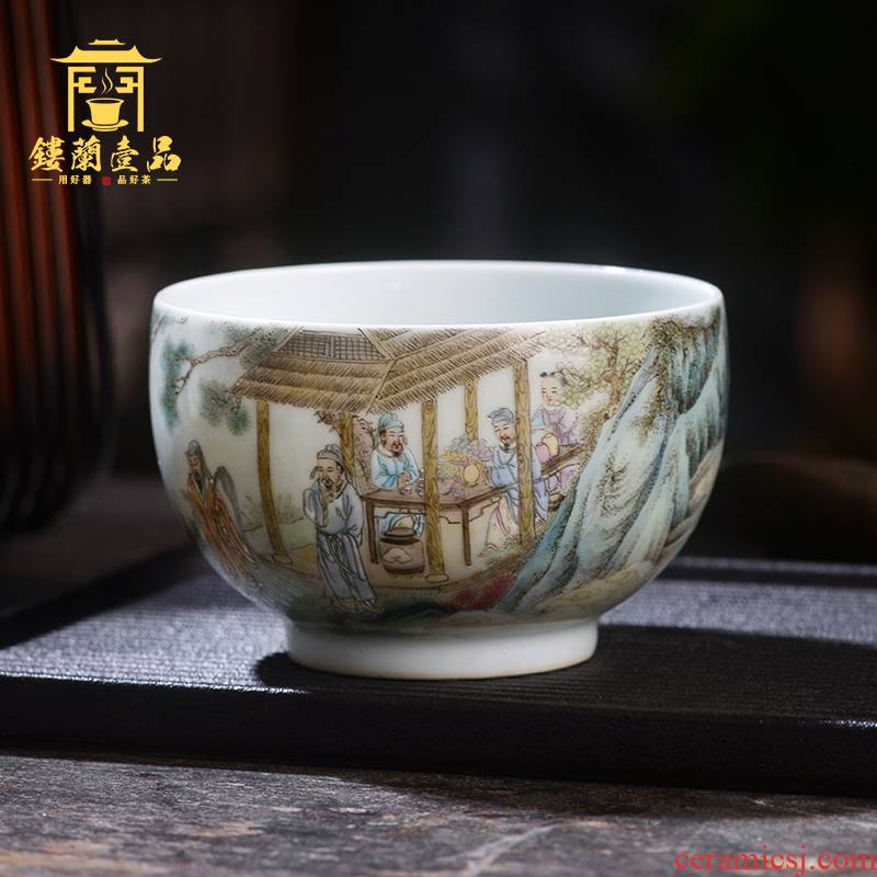 Jane don spill pastel figure master cup of jingdezhen ceramic hand - made single CPU kung fu tea tea cup sample tea cup individuals