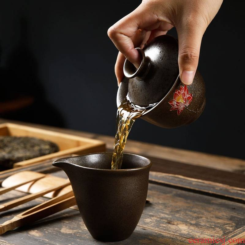 Qiao mu kung fu tea set coarse pottery tureen to use large tea ware ceramic cups accommodate three bowl of tea taking