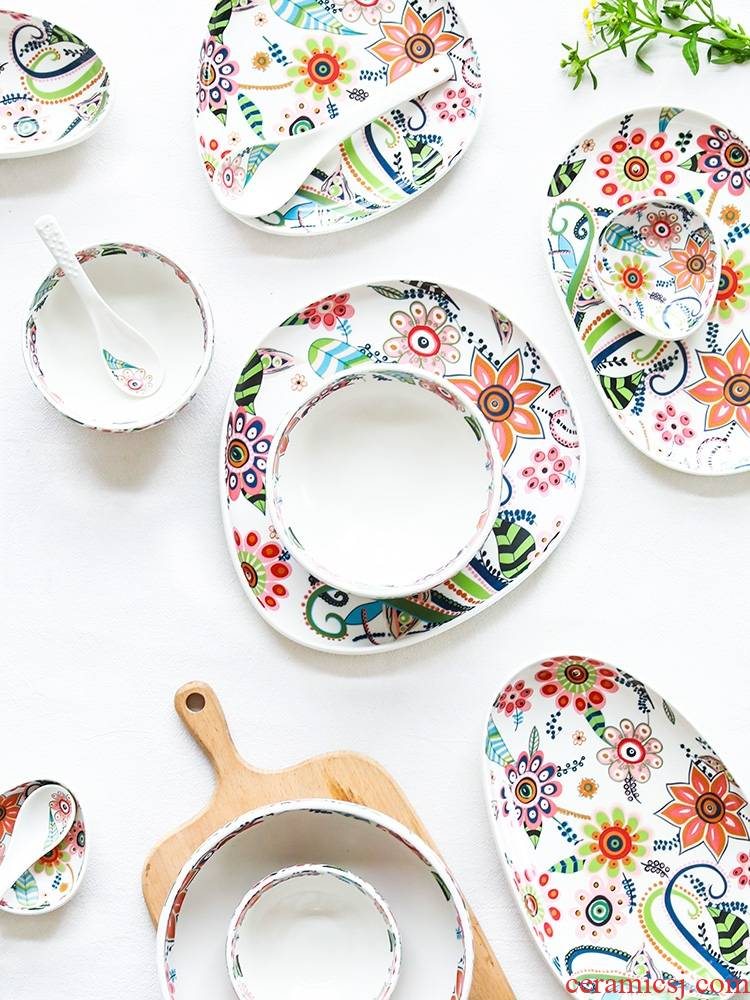 Qiao mu recent series high temperature glair pottery and porcelain tableware rice bowl dish dish soup plate dishes suit