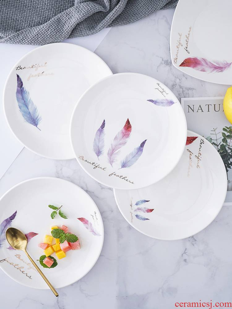 Nordic creative ceramic tableware, household food dish nice dishes square plate SaPan steak dinner plate small dishes
