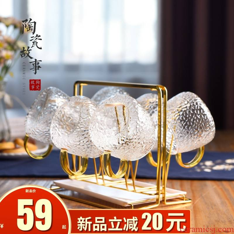 The Story of pottery and porcelain cup suit household entertain guest with beverage holder tray cups with light key-2 luxury glass glass kettle