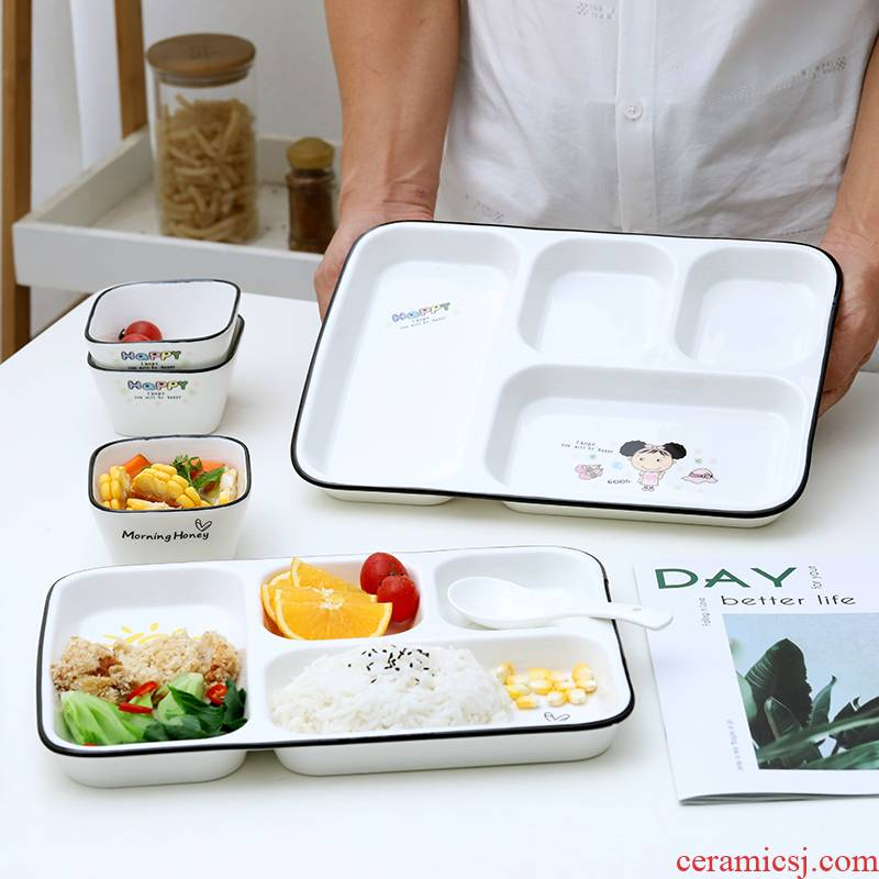 Ceramic household children suit the baby to eat space frame plate tableware parent - child cartoon fast food breakfast tray