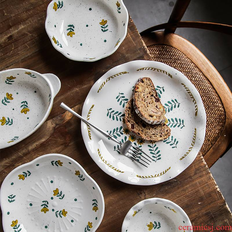 Creative glaze color hand - made floret tableware under Japanese original glaze ceramic pure and fresh and lovely lace plate rice rainbow such use