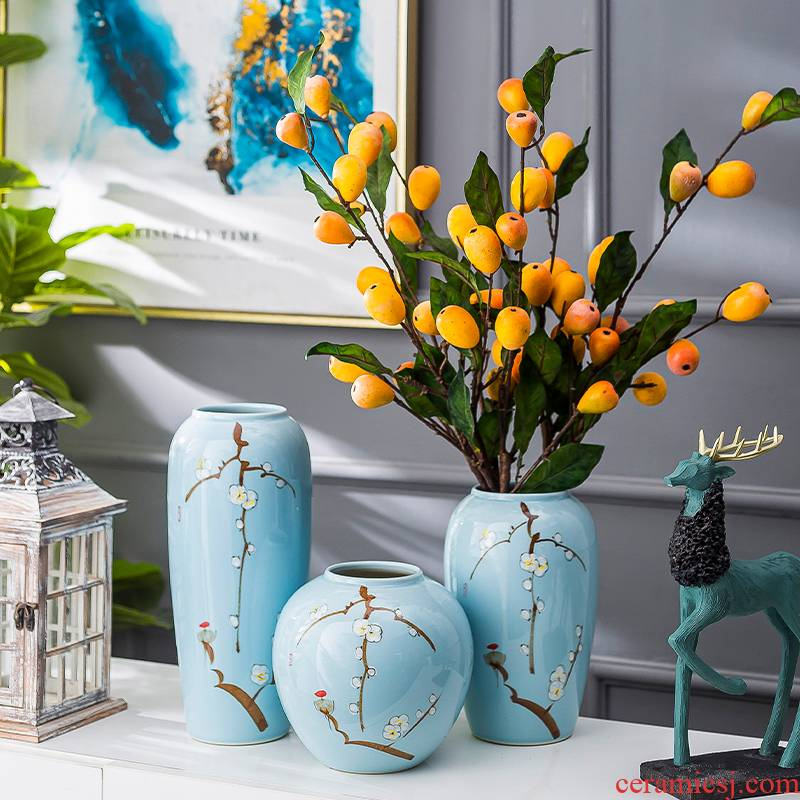 Modern new Chinese style restoring ancient ways vase living room TV cabinet ceramic furnishing articles contracted porcelain decorative dried flowers flower arrangement