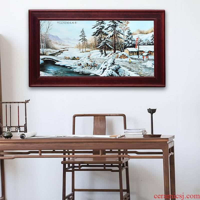 Chinese customs jingdezhen porcelain plate painting painting snow home sitting room sofa background wall art decoration hangs a picture