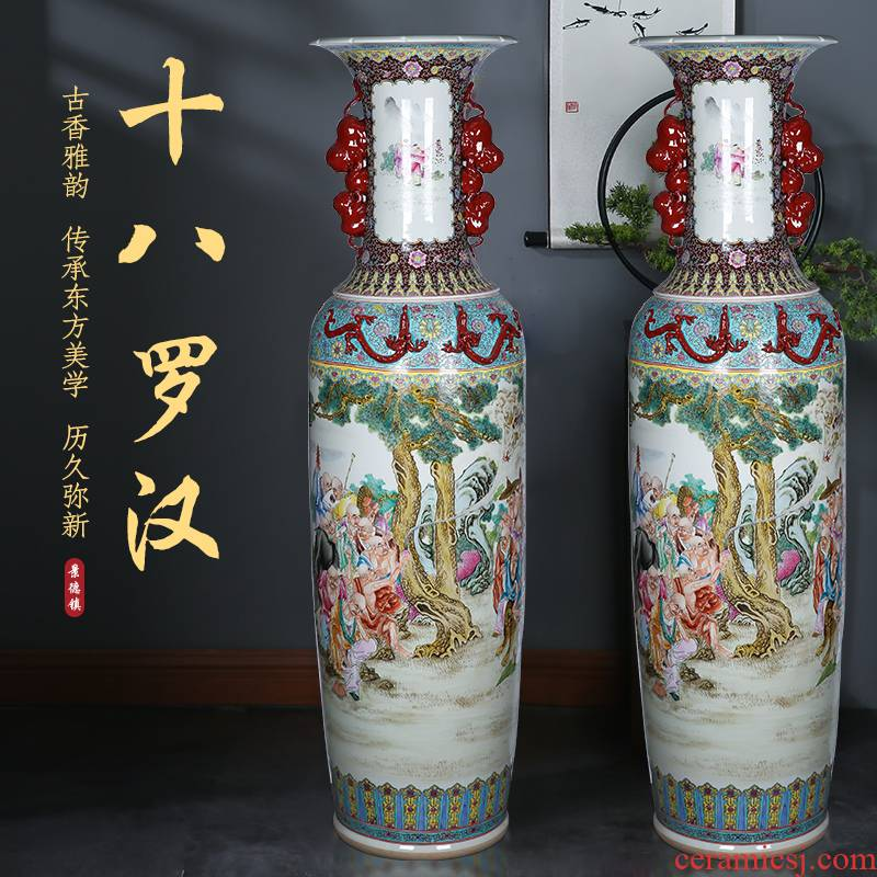 Jingdezhen hand - made of pastel 18 arhats ensemble ears sitting room of large vase ceramic Chinese style furnishing articles