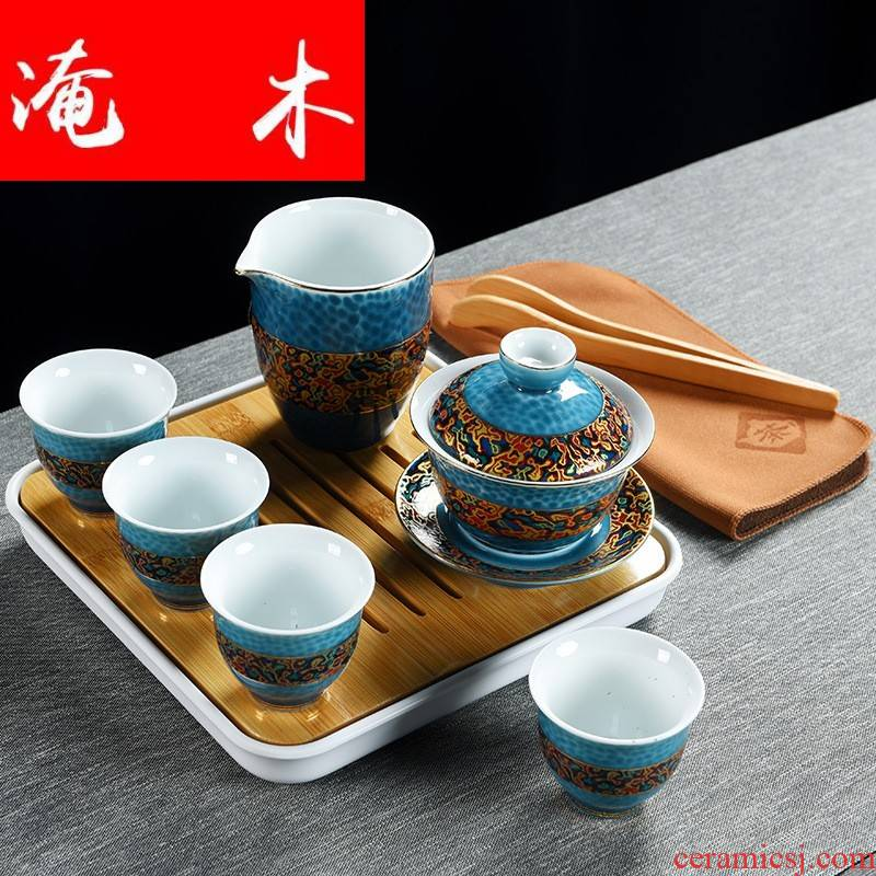 Travel submerged wood dehua tureen tea package white porcelain of a complete set of kung fu tea sets business gifts support LOGO