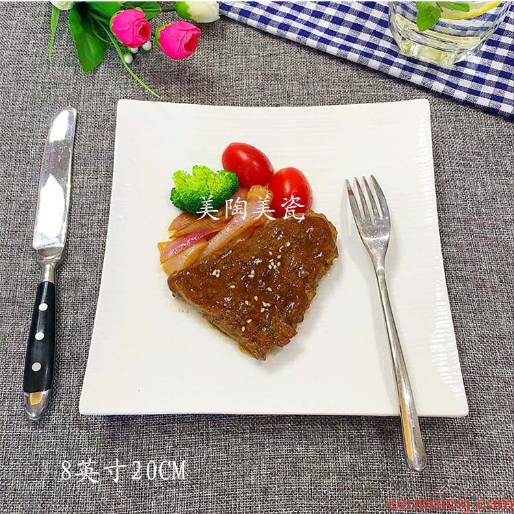 """8 """"western food tray was creative tableware of flat plate hotel home dishes all the ceramic plate mail"""