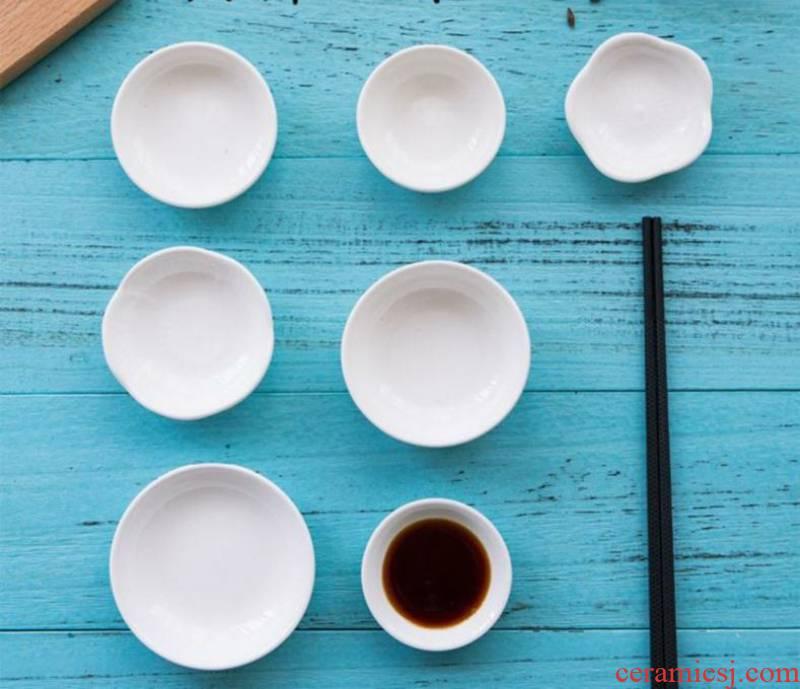 The Mini white ceramic dumplings sauce dip small small plate tableware oil disc table 10 breakfast store