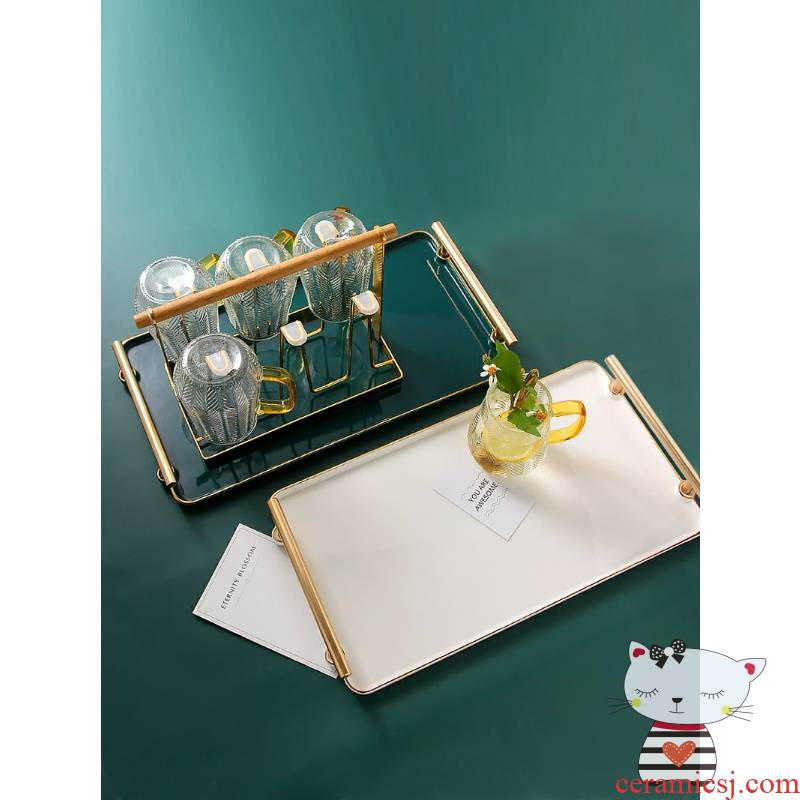 LED cup tray rectangle Nordic household ceramics living room light ltd. ins key-2 luxury glass suits for with pallets