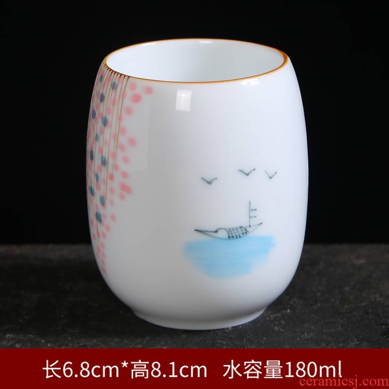 Hand - made ceramic cups master cup celadon kung fu tea cup single cup lamp that individual cup of pu 'er tea sample tea cup