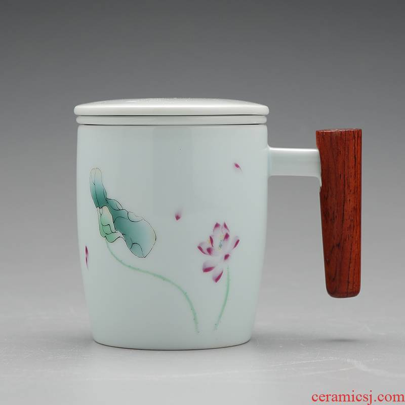 Jingdezhen celadon teacup with cover filter tea cup of ceramic cup with the office of household utensils cup