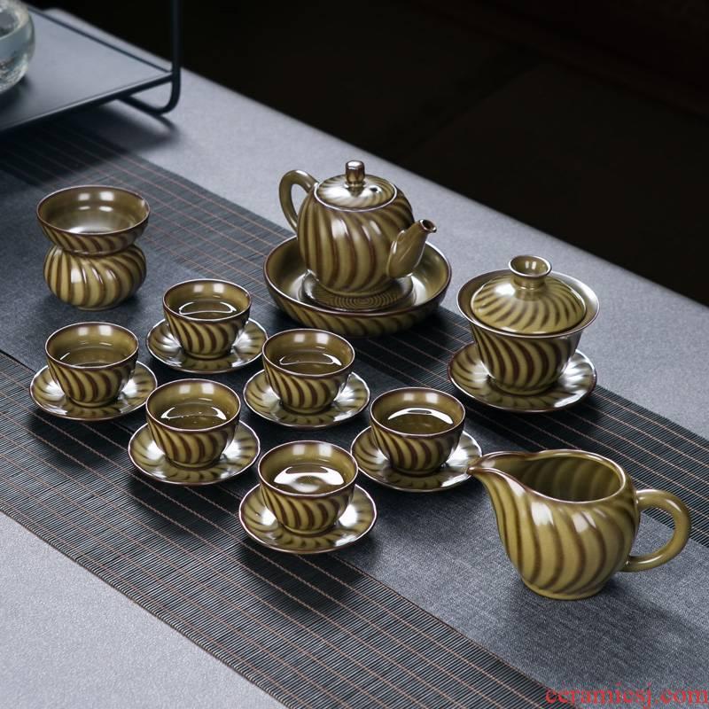 Jingdezhen coarse after change color glaze ceramics kung fu tea set home sitting room of Chinese style restoring ancient ways of make tea